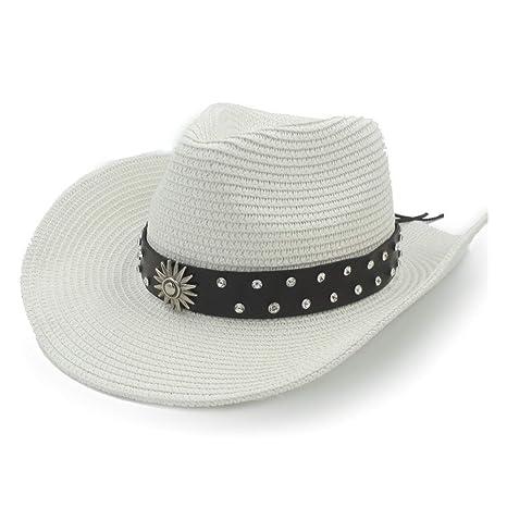 a27503423 MUMUWU Cowboy Hat Sun Hat Raffia Hat Summer Casual Men's Leather ...