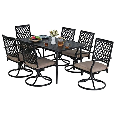 MF Patio Dining Set 7 Pieces, 1 x Rectangular Table with 6 x Swivel Chairs for Outdoor Lawn Garden Furniture Set Metal Steel Frame Black