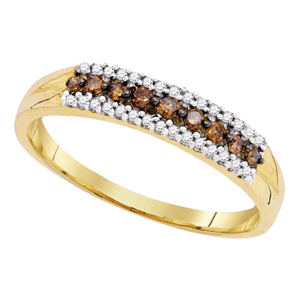 Brown Diamond Fashion Ring Solid 10k Yellow Gold Band Chocolate Round Single Row Style Fancy 1/5 ctw by GemApex