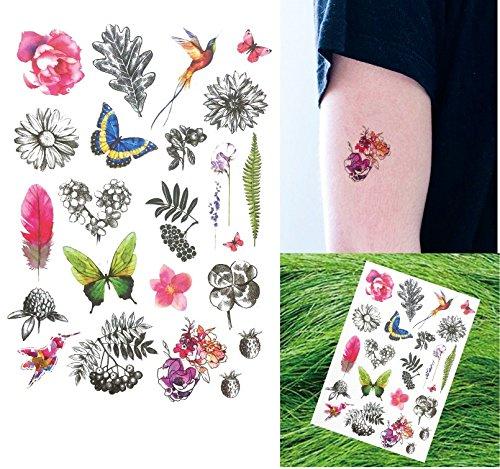 Mariposas Pájaros y Flores Tatuajes para pegar para cuerpo th018 ...
