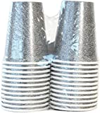 Lillian Tablesettings 24-Piece Twin Stack Paper Cups Set, 9-Ounce, Silver Texture
