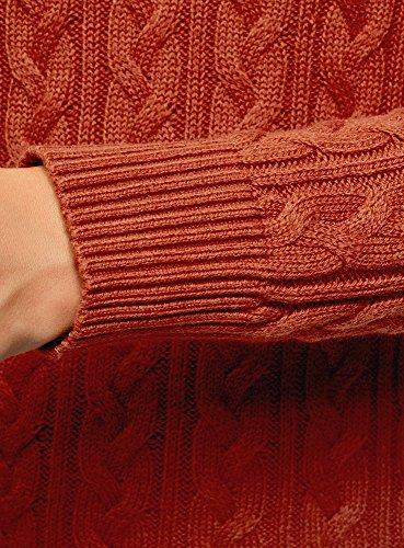 Collection 3100n Donna Rosso Maglione Trecce Lavorazione oodji a con P7H4wxfq