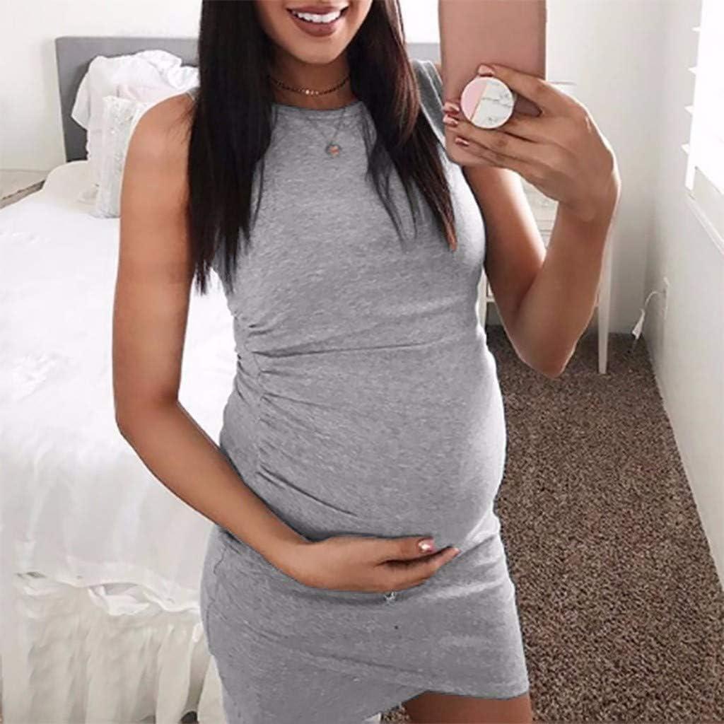 Iusun Womens Maternity Nursing Dress O-Neck Solid Sleeveless Sundress Breastfeeding Pregnants for Summer Daily Vacation Holiday