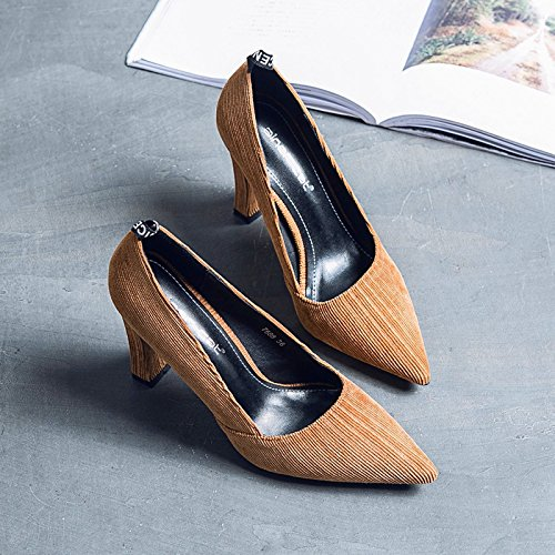 con rayas la de del punta de satinado Primavera luz los mate tac zapatos Punta La de high Verano Shoes de Heel OfqzCq8