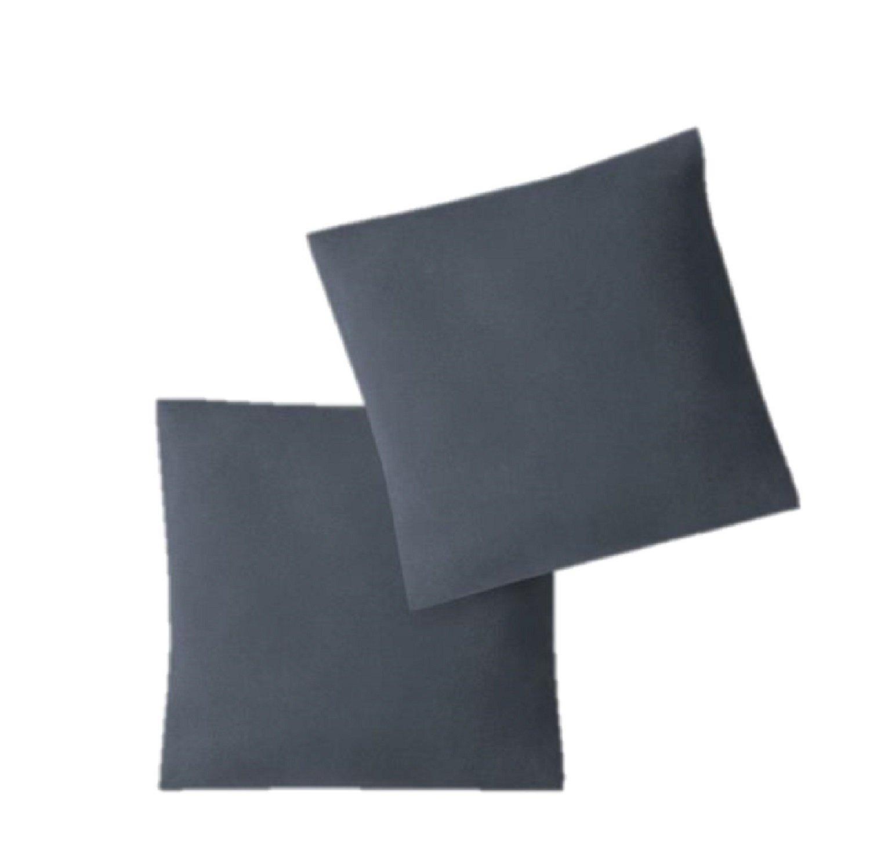 Funda de cojín, juego de 2 unidades, con cremalleras, 5 tamaños, de alta calidad, 100 % algodón, antracita, 40 x 40 cm