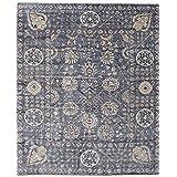"Ecarpetgallery Hand-knotted Jules Ushak Open Field 8'1"" x 9'10"" Blue 100% Bamboo Silk area rug"