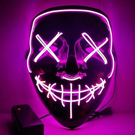 Maschera LED Bagliore Costume Halloween Prop Maschera a Bagliore El Maschera da Trucco Festa Fredda Striscia di Luce Maschera Fantasma Yuciya Maschera Halloween