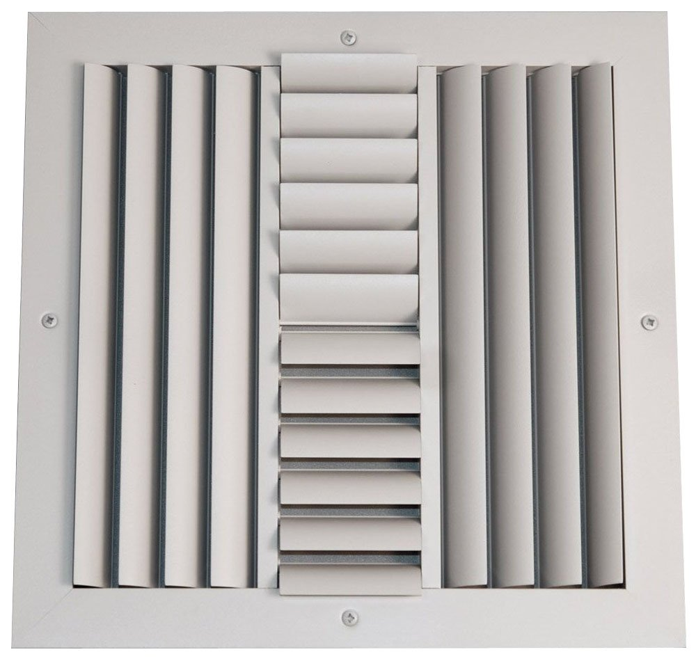 Speedi-Grille SGA-1616 ACB4 16-Inch by 16-Inch Soft White Aluminum 4-Way Ceiling Register with Adjustable Curved Blade Diffuser