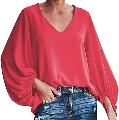 Blusas de Manga Larga, Top Holgado de Gasa con Manga de Linterna de Moda para Mujer Camiseta Regular con Cuello en V Color Liso Rojo XL: Amazon.es: Ropa y accesorios