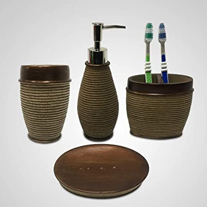 ARG HEALTH CARE Natural Stone Finish Resin 4 Pieces Bathroom Set-Liquid Soap Dispenser, Toothbrush, Tumbler and Soap Dish Holder