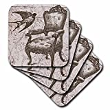 3dRose cst_110259_3 Vintage Chair and Bird Steampunk Art-Ceramic Tile Coasters, Set of 4