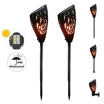 Luxvista 2-Unidades Impermeable Antorcha Solar LED Lámpara con Bombilla de Efecto Fuego/Llama