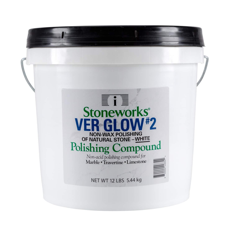 Ver Glow #2 White (12 Lb) No-Wax Polishing Compound for Natural Stone (Marble, Travertine, Terrazzo, Limestone)