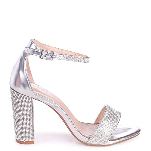 ad8ac0b31aa Linzi Kesha - Silver Metallic Block Heel with Diamante Detail   Amazon.co.uk  Shoes   Bags