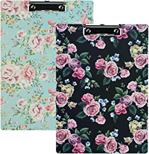 """QIELIZI 2 Pack Clipboards,Decorative Clipboard for Office School Hardboard,A4 Standard Size 8.26""""x12.2"""" Paperboard Clipboard Low Profile Clip,File Holder for Writing Drawin(2-Rose)"""