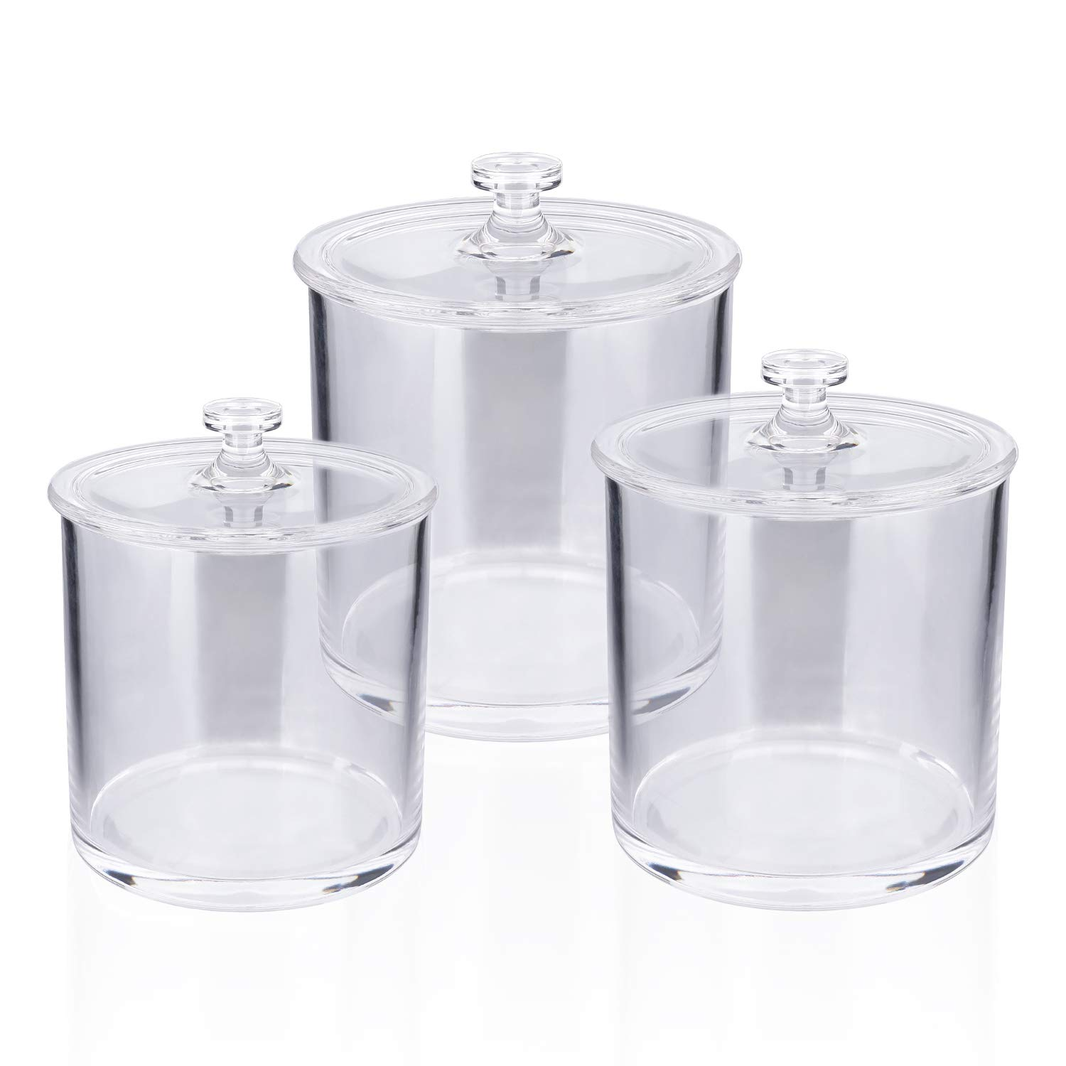 MUCH Premium Acrylic Apothecary Jars Clear Plastic Bathroom Canisters with Lid Storage Organizer for Cotton Ball Swab Q-Tips Rounds Bath Bomb Salts (Set of 3)