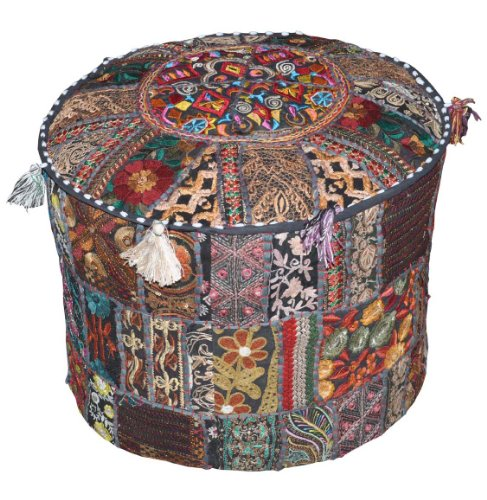 Indian Traditional Home Decorative Ottoman Handmade and Patchwork Foot Stool Floor Cushion, 18 X 13 Inches by Rajasthali