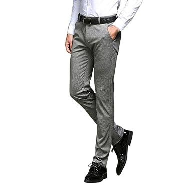 Zhhlaixing Hombre Slim Casual Negocio Pantalones Pantalones ...