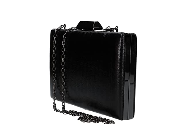 MICHELLE MOON Bolsa mujer pochette negro de ceremonia apertura metálica VN2344