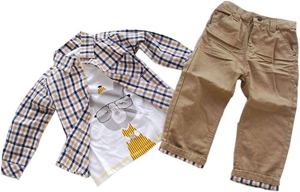 ggudd Boys Long Sleeves Plaid Tops and Koala Printed Shirt and Pants Clothing Sets for 2-9 Years