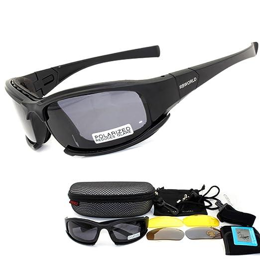 9d523920ca05 Polarized Designer Tactical Military Sunglasses 4 Set Interchangeable Lenses  (Black, 4 Lenses)