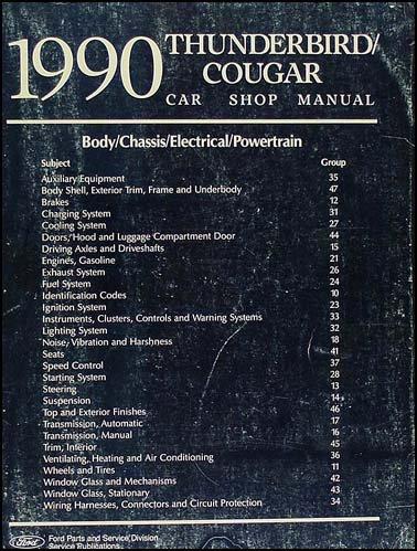 1990 Ford Thunderbird & Mercury Cougar Repair Shop Manual Original