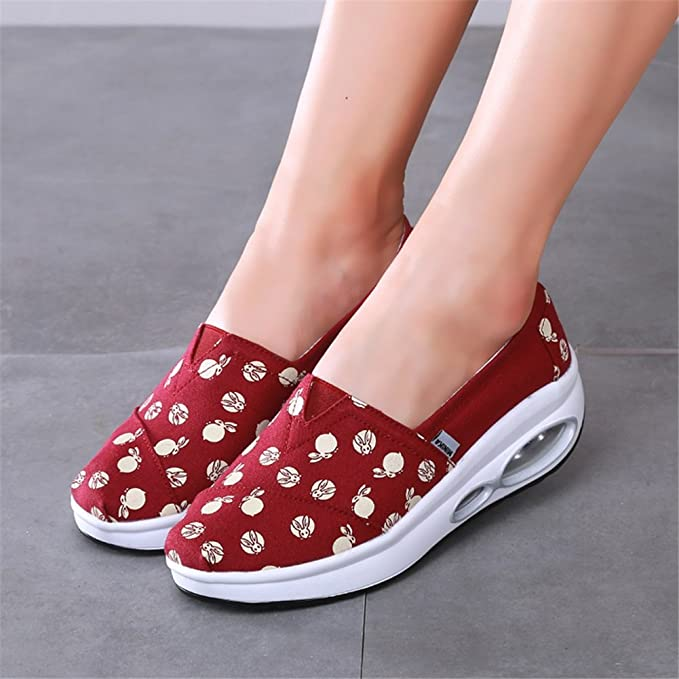 Amazon.com: SHINIK Womens Shoes Spring Summer Slip On Lazy Shoes Canvas Fitness Shake Shoes Comfort Sneakers Slope With Shake Shoes Ladies For Casual: ...
