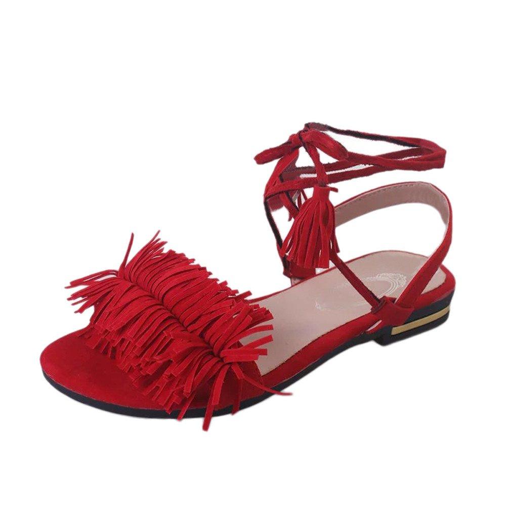 Tuu Women Tassel Clip Toe Flat Heel Anti Skidding Summer Casula Beach Shoes Sandals Slipper B07BWBGSP2 37 M EU|Red