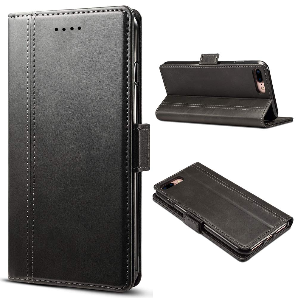 Leather Wallet Phone Card Holder Case with Kickstand Flip Cover for IPhone XS MAX, Black by FLY HAWK