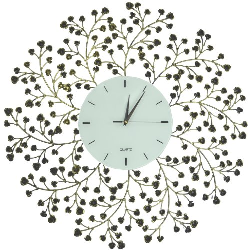 Lulu Decor, Spring Blooms, Lines Dial, Decorative Metal Wall Clock, Golden and Black, Size 24.50 (Clocks Interesting Sale For)