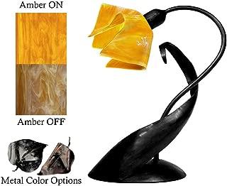 product image for Jezebel Radiance Lazy Daisy Lamp. Hardware: Black. Glass: Amber, Flame Style