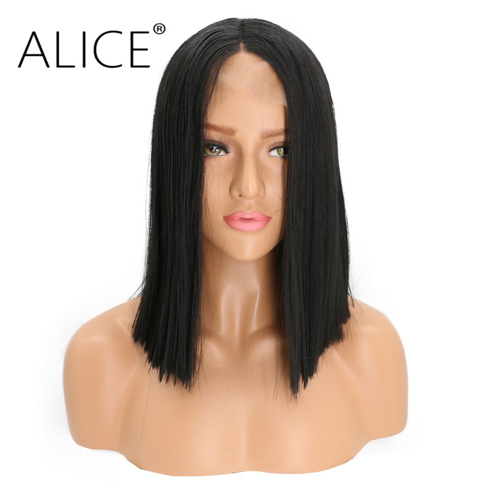 Alice Lace Front Wigs 14 Short Bob Black Wig, Kinky Straight Middle Part Heat Resistant Synthetic Full Wigs for Women Girls Alice Wig