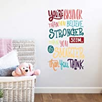 Colorful Inspirational Lettering Quote Wall Decal-You're Braver Than You Believe,Stronger Than You Seem,Smarter Than You…