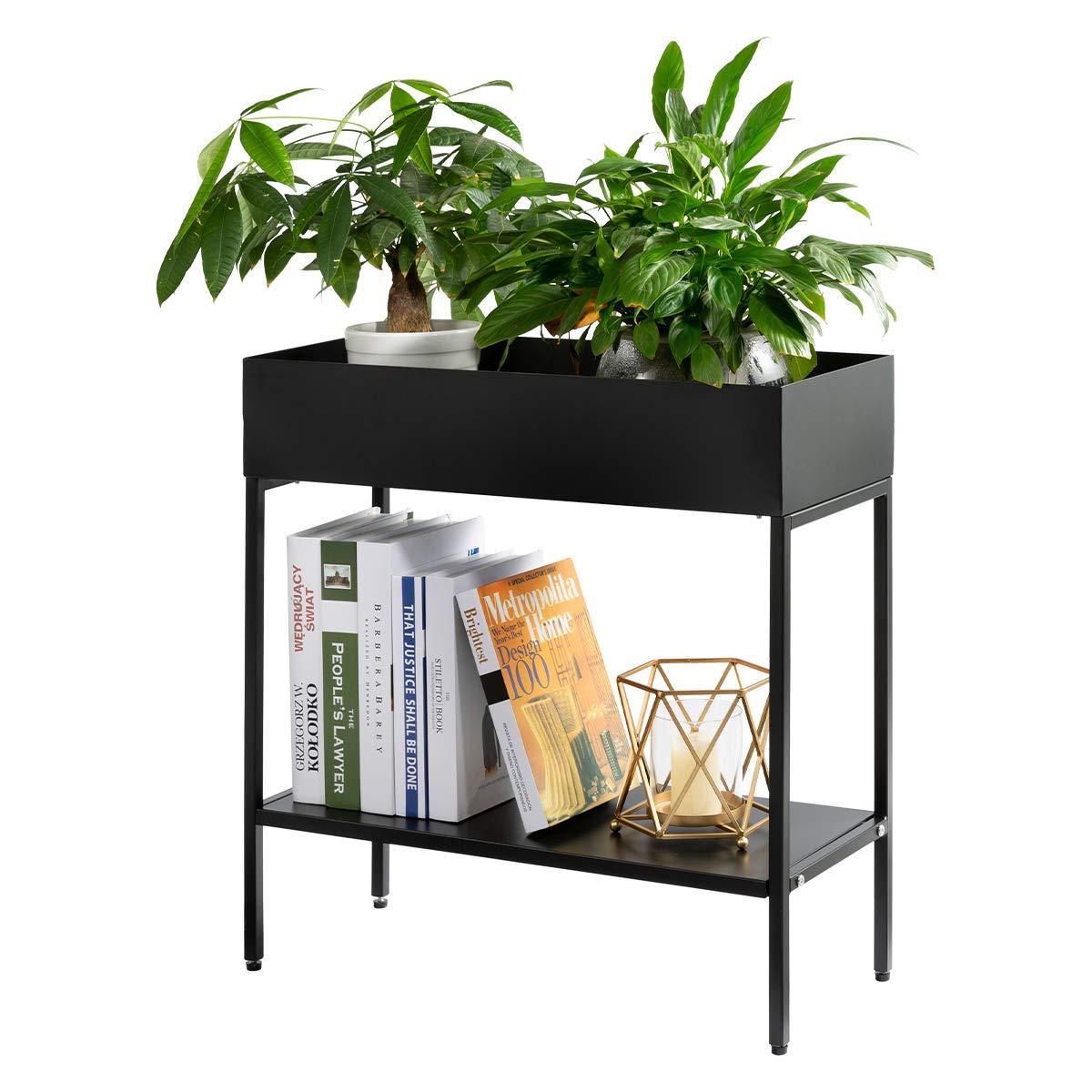 AGTEK 2-Tier Garden Planter Flower Box Stand, Iron Flower Pot Holder Rack, Black Planter Garden Container Display by AGTEK