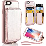 iPhone 6 Wallet Case, iPhone 6s Card Holder Case, ZVE iphone 6 Case with Protective Credit Card Holder Slot & Zipper Pocket Wallet & Wrist Strap for Apple iPhone 6/6S 4.7 inch - Rose Gold