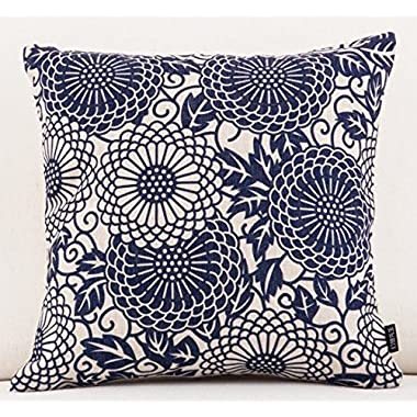 Blue and white porcelain boho style the flowe Throw Pillow Case Cotton Blend Linen Cushion Cover Sofa Decorative Square 18 Inches ¡­ (6)