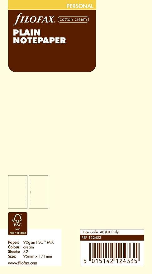 Filofax Personal - Recambio de hojas para agenda de anillas, color crema