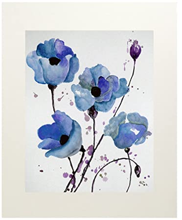 Amazon blue poppy wall art decor flower watercolor painting blue poppy wall art decor flower watercolor painting garden poppies matted 11x14 mightylinksfo