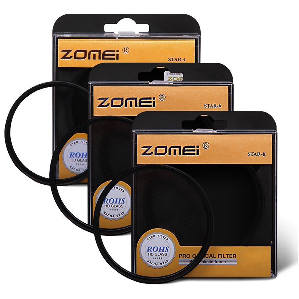 Zomei 72mm Star-Effect Cross Starburst Twinkle Lens + 4 Points Star Filter + 6 Points Star Filter + 8 Points Star Filter Set for Canon Nikon