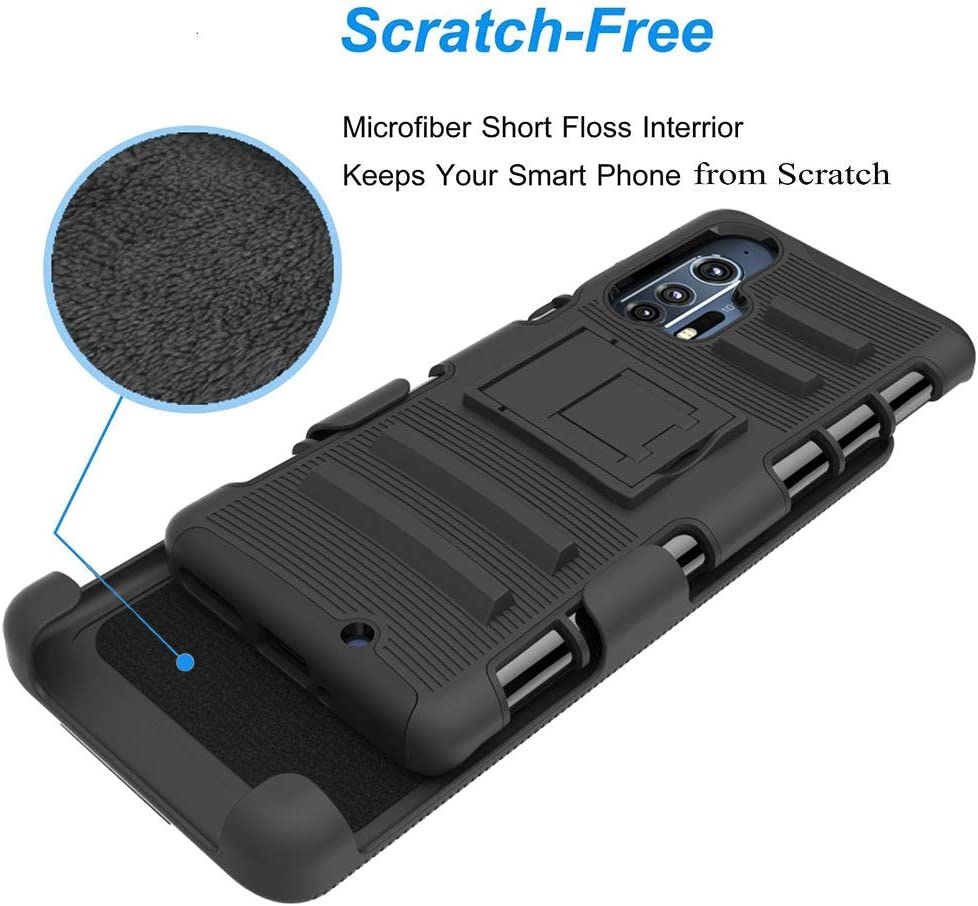 Screen Protector Black Valchinova for Moto Edge Plus Case 3 in 1 Hybrid Rugged Armor Cover with Kickstand Belt-Clip Holster Shockproof 360/° Full Body Protect