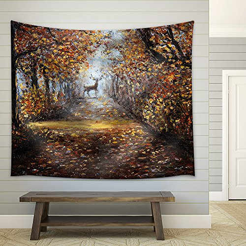 Deer at The End of Path Impressionism Marinism Fabric Wall