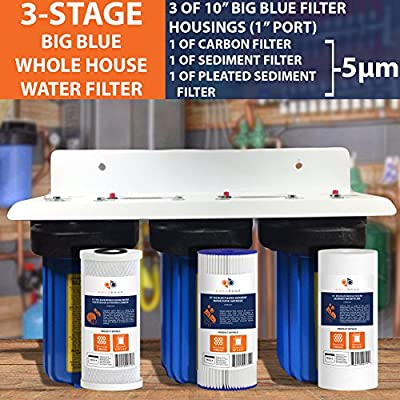 """3-Stage Big Blue 10"""" Whole House System 1"""" Port+Carbon,Sediment,Pleated Filters"""