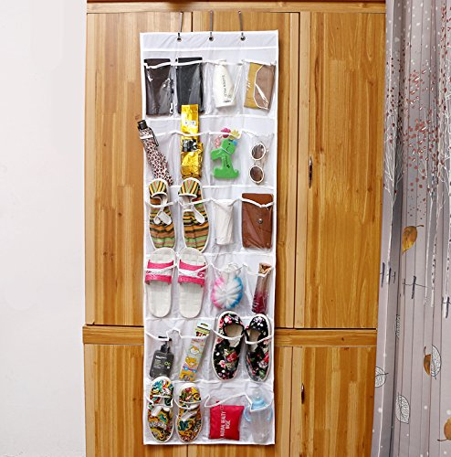RayLineDo Hanging Closet Over the Door Hanging Organizer kids Toy Shoes Jewelry Slippers Storage 24 Pockets