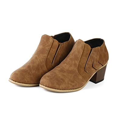 733d46d64a6 Amazon.com  Hemlock Wimen Ankle Boots Teen Girls Wedge Booties Shoes Women  Boots Winter Warm Slip-On Snow Shoes  Clothing