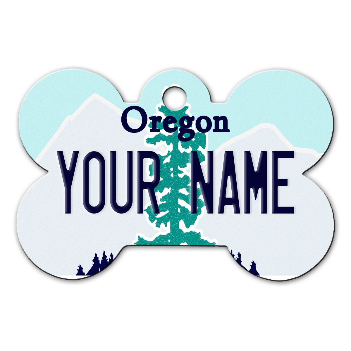 BleuReign(TM Personalized Custom Name Oregon State License Plate Bone Shaped Metal Pet ID Tag with Contact Information