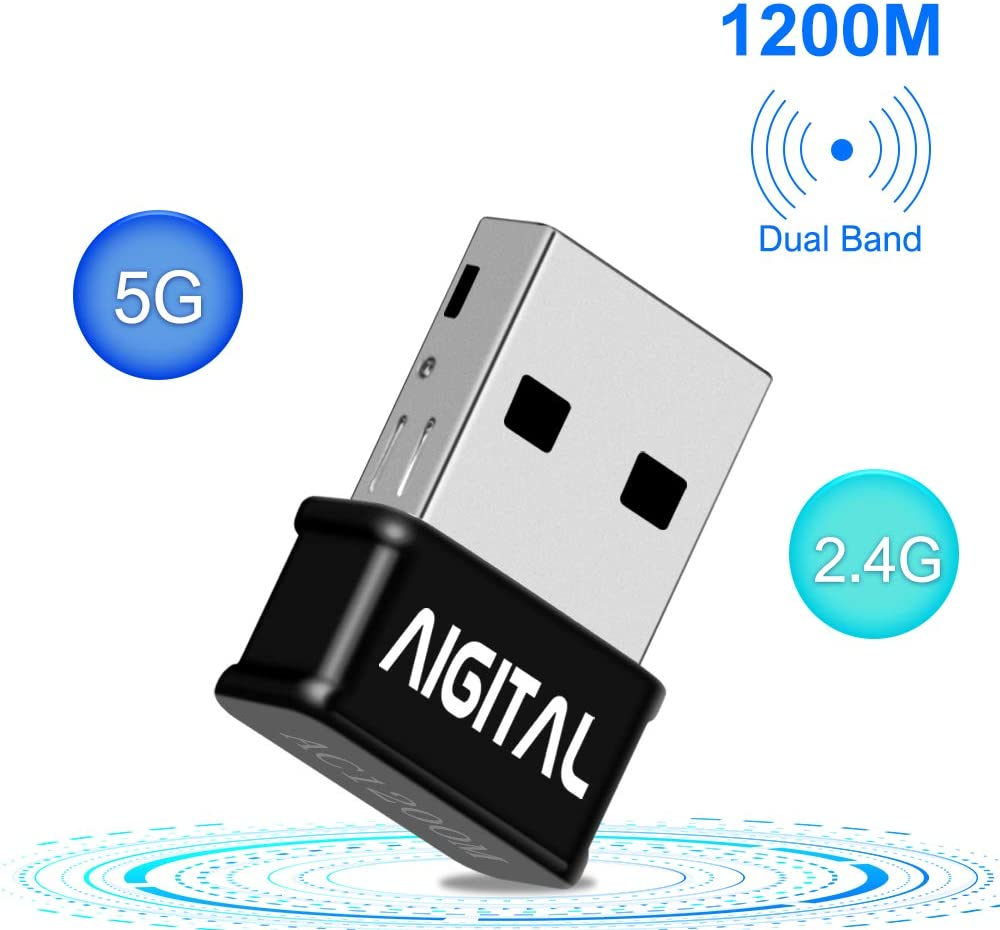 Aigital 1200Mbps USB WiFi Adapter for PC,Mini Wireless Adapter Network WiFi Dongle High Speed Dual Band 5GHz / 2.4GHz WiFi Dongle for Desktop/Laptop,Support Win 7/8/10,Mac OS X/Mac OS 10.7-10.12