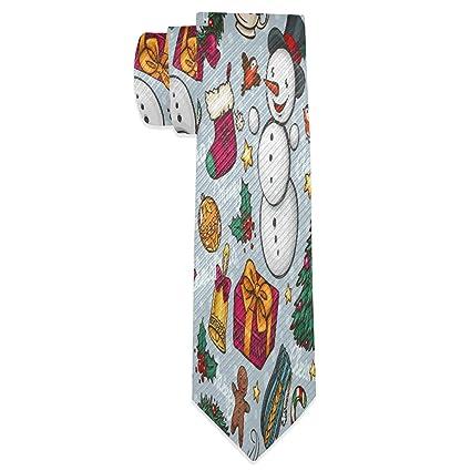 Corbata para hombre con diseño de árbol de Navidad y muñeco de ...