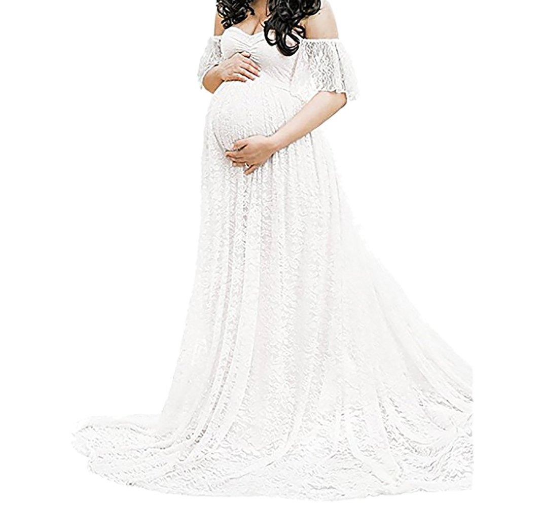 SICILY Lace Overlay Maternity Wrap Maxi Dress Photography Props Fancy Gown With Train For Baby Shower Photo Shoot