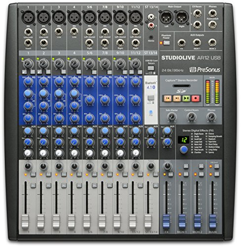 Live Dj Recording Mixer (PreSonus StudioLive AR12 USB 14-Channel hybrid Performance and Recording Mixer)