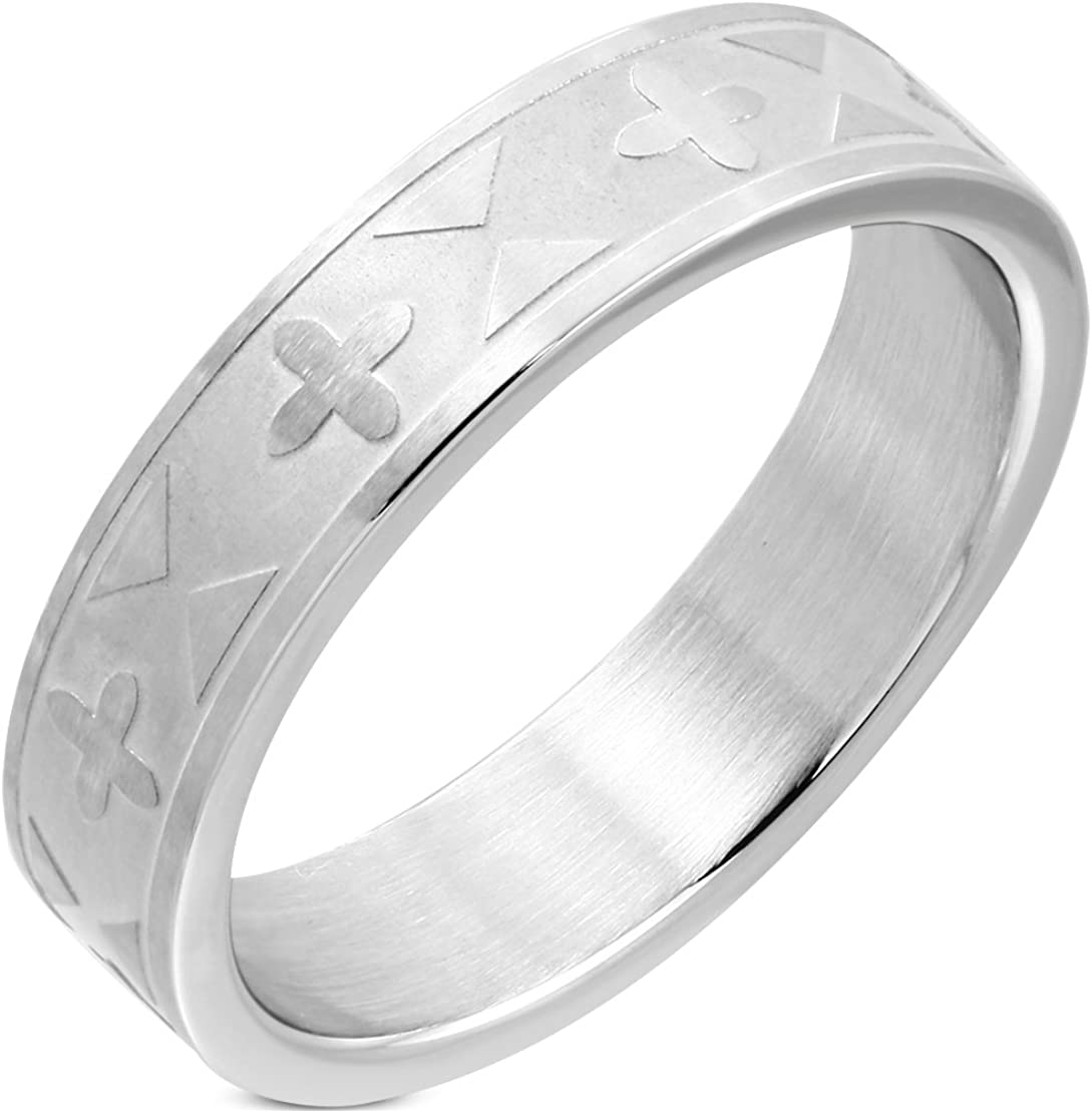 Stainless Steel Matte Finished Greek Cross Wedding Flat Band Ring